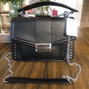 Topshop black crossbody handbag purse silver
